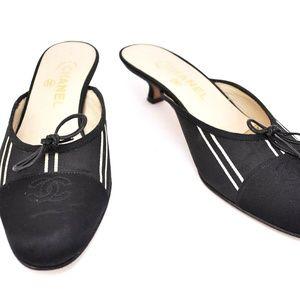 "CHANEL: Black ""CC"" Logo & Bow Mules/Heels"